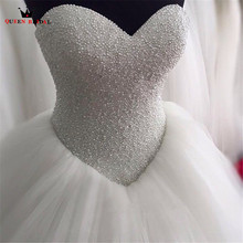 Custom Size Ball Gown Strapless Fluffy Pearls Beads Formal Wedding Dresses Robe de Mariee Wedding Gowns 2018 New Fashion LR44(China)