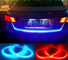 new coming tail light dual color flow flexible drl with flow turn Signals Rear led brake strip waterproof ice blue red(China)