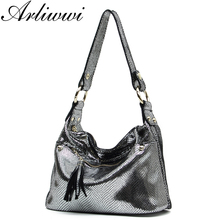 New Luxury Serpentine Pattern Embossed Handbags Shiny Genuine Leather Women Designer Hobos Multi Functional Tote Bags S5335(China)