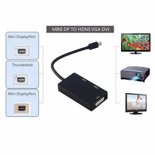 3 in 1 Mini DP Display/Thunderbolt Port to DVI VGA HDMI TV AV HDTV Adapter Converter cable for MacBook iMac Air Mac Book Pro PC