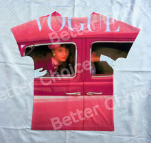 Track Ship+Vintage Retro Cool Rock&Roll Punk T-shirt Top Tee Elegant Lady Beauty Vogue In Bubble Car Pink Memory 0497