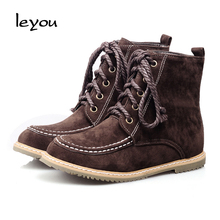 2016 New Women Martin Boots Fashion Nubuck Leather Lace Up Breathable Flats Ankle Boots Autumn Comfortable Female Cowboy Boots