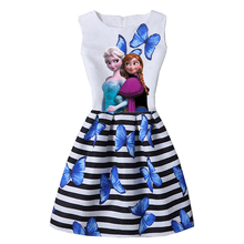 2017 HOT Girl Dresses Elsa Dress Snow Queen Anna Elsa Dress Teenagers Butterfly Print Princess Party Dress Vestidos Kids Costume
