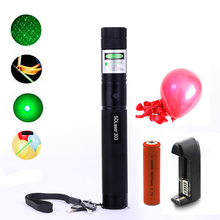 Laser Pointer Powerful 532nm Green SD 303 Laser Pen Adjustable Head Burning Match With 18650 Battery+Charger 5 Pcs balloon(China)