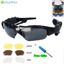 GutsyMan Sport Stereo Wireless Bluetooth 4.1 Headset Telephone Driving Sunglasses/mp3 Riding Eyes Glasses With colorful Sun lens(China)
