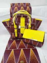 Purple&yellow african print bag with 6yards super wax and purse sets for sewing african ankara prom dresses Dec-12-2017(China)