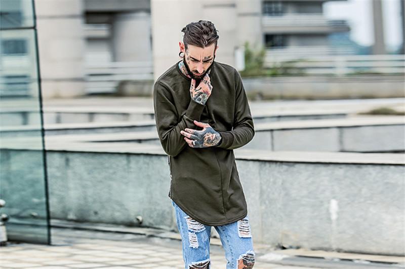 Cross Printed Hip Hop Sweatshirt Men 17Spring Streetwear Curved Hem Side Zipper Plain Mens Sweatshirts and Hoodies Man Clothes 15