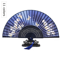 Free Shipping 10pcs Luxurious Silk Fold hand Fan Butterflies Sakura Folding Hand Fan Bamboo Asian Pocket Fan Craft Supplies(China)