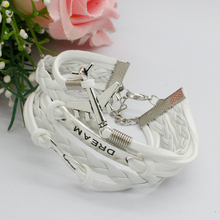 1pcs White Fashion New Classical Multilayer Handmade Leather Weaved Friendship Wristband Bracelets For Women