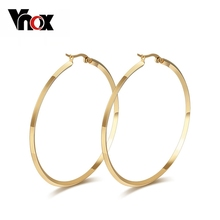 Vnox Round Hoop Earrings for Women Big Stainless Steel Jewelry Gold-color / Silver-Color 2 pair / lots(China)