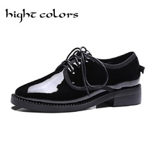 Fashion Japanned Leather Pointed Toe Flat Heel Single Shoes Zipper Bottom Spring Autumn Oxfords Shoes For Women Casual Flats 43