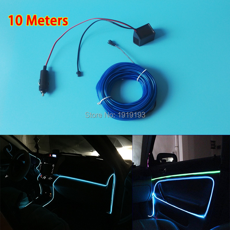 2.3mm-Skirt 10Meters EL Wire Tube Rope Flexible Neon Cold Light LED Strip For Motorbike,Car,Party Decoration + DC-12V EL Driver<br><br>Aliexpress