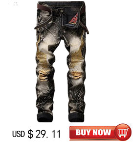 MORUANCLE Fashion Mens Ripped Motorcycle Jogger Jeans Brand Designer Slim Fit Distressed Biker Jeans Pants Male Washed Trousers