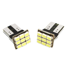 2pcs DC 12v Car T10 led W5W 9SMD Chips LED 3W Error door and marker Light Bulbs White car-styling #HP