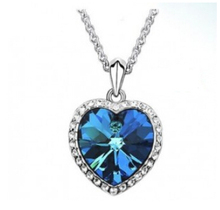 Na151 Romantic Titanic Ocean Heart Pendant Necklaces For Women Blue Crystal Choker Necklace Jewelry Girl birthday gift(China)