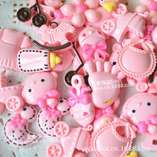 60PCS mixed flat buttons pink hair accessories diy super adorable baby mobile beauty Lara clip jewelry accessories(China)