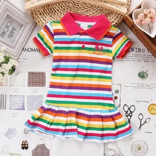 2017 Rainbow Stripe Girls Dress Cotton Kids Dresses For Girls Pettiskirt Polo Jumpers Floral Summer Children Clothes