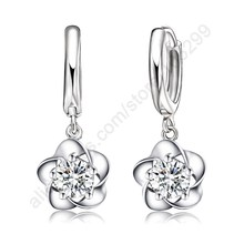 Fine Nice Woman Lever Back Loop Earrings Pure 925 Sterling Silver Exquisite Flower high quality fashion classic jewelry(China)
