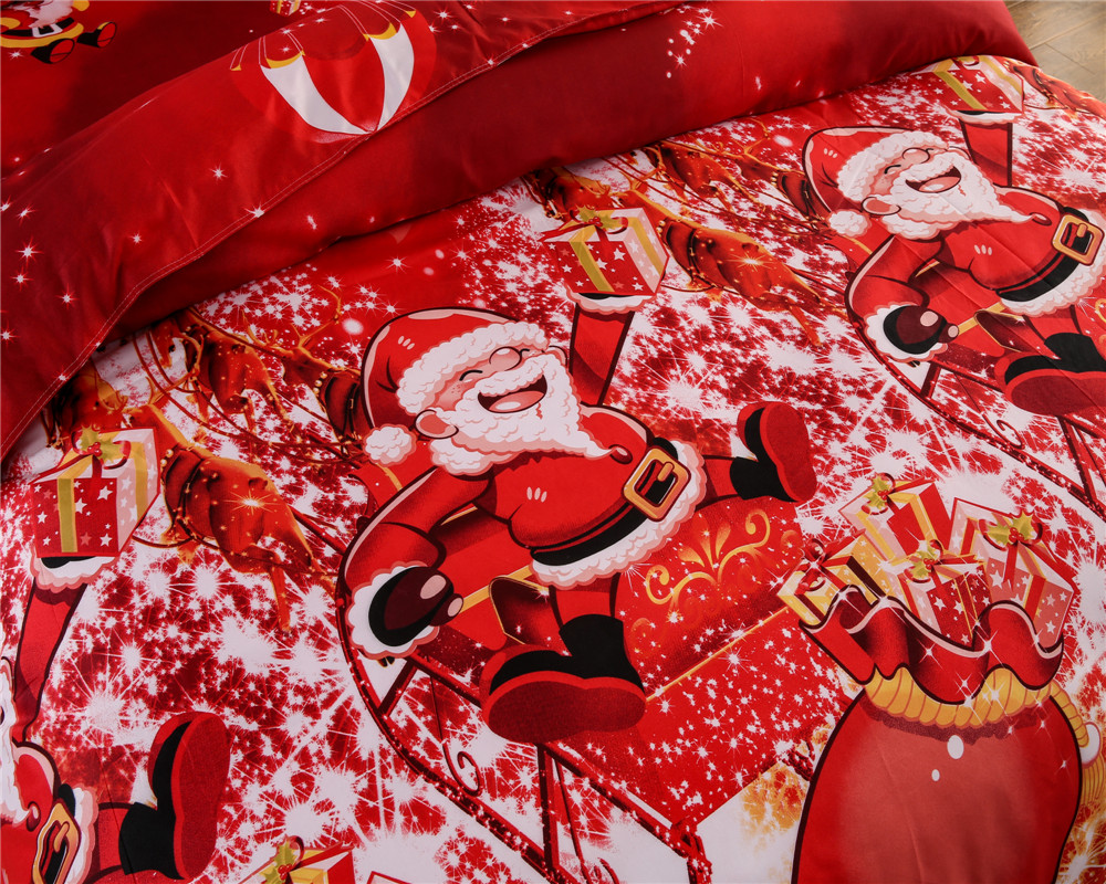 Great For Christmas, Set 4Pcs Christmas Santa Clause, 3D Bedding Set Duvet Cover Set,Sheet, Pillowcase, Sham Covers 10
