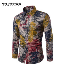 Buy New Brand-Clothing 2018 Fashion Shirt Male Flax Dress Shirts Slim Fit Turn-Down Men Long Sleeve Mens Hawaiian Shirt Big Sizes for $10.19 in AliExpress store