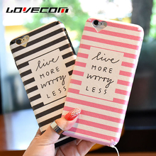 LOVECOM Dual Layer Black White Pink Stripe Mobile Phone Case For iPhone 7 6 6S Plus Heart Camera Window Soft TPU Back Cover Capa