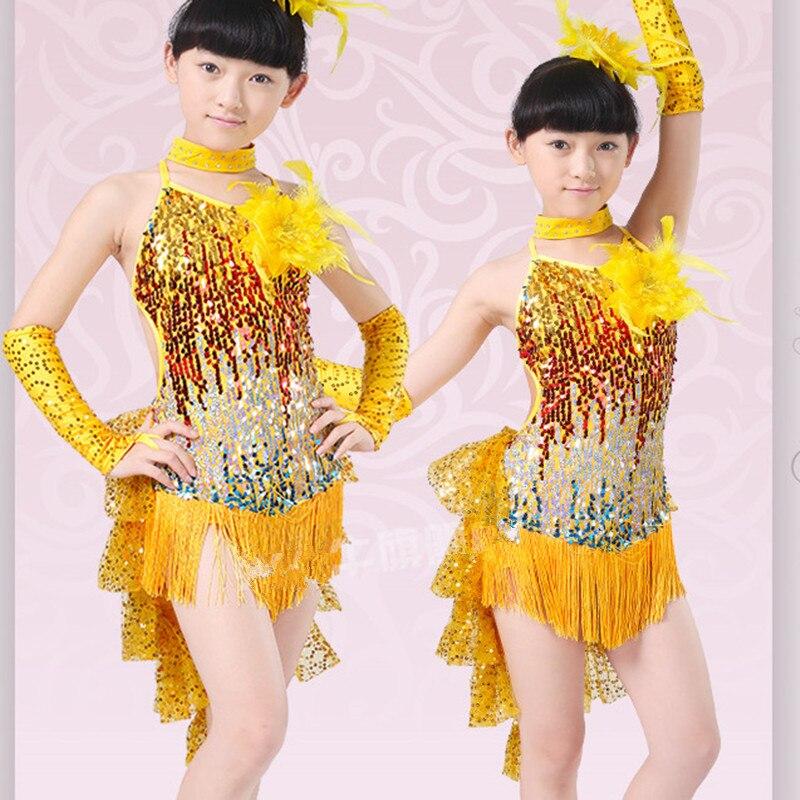 Gorgeous Paillette Tassel Children Dance Clothes Fashion Kids Applique Latin Dresses with Head Flower Girls Performing Costume<br><br>Aliexpress