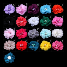 "(30pcs/lot)2"" 20 Colors Mini Chiffon Flowers With Pearl Rhinestone Center For Hair Clips Lace Flower For Kids Hair Accessories"