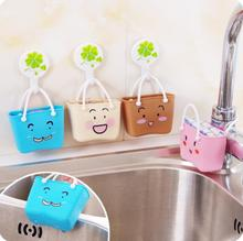 Cartoon Smiley Disassembly Sink Drain Bag Bathroom Multi-purpose Storage Rack 2Pieces/Lot Kitchen Organizer Faucet Sponge Holder
