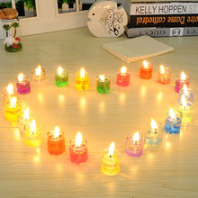 24PC/Box Pillar Gel Wax Candles Paraffin velas Glass Bottle Swing light para birthday Candle wedding dinner party decoration