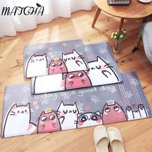 Matcha Store Cartoon Cat Floor Door Mats Cute Rectangular Bathroom Kitchen Carpet House Doormats for Living Room Anti-Slip Rug(China)
