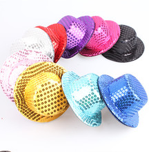 9 color avaliable 13cm high quality sequin mini top hats good fascinator base girl party headwear show hair accessoriesMYQH015-2