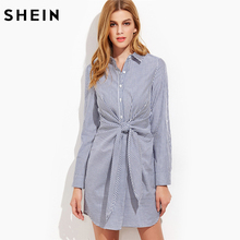 SHEIN Womens Fashion 2017 Korean Women Clothing Lapel Long Sleeve Navy Striped Single Breasted Tie Waist Shirt Dress