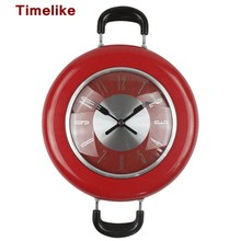 2017 New Decorative Kitchen Wall Clock Metal Frying Pan Design 10 Inch Clocks Novelty Art Watch Relogios de Parede Horloge