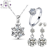 Real 925 Sterling Silver Fashion Design  Classic 1 Carat White Zirconia Round Necklace Earrings Ring Fashion Bridal Jewelry Sets