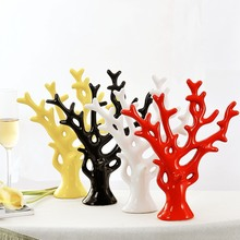 Holiday Gift Desktop Furnishing Articles/ Ceramic Yellow Black White Red Color Decorative Trees/ Chinese Style Rich Tree Coral