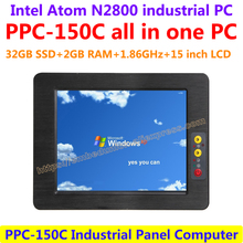 All In One Computer 15inch Intel atom N2800 industrial panel pc with resistance touch screen 32G SSD 2G RAM affordable pc
