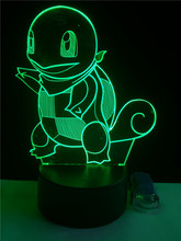 Hot Pokemon Go Action Figure 3D Led light Creative Atmosphere Lamp Jenny Tortoise 7 color change Novelty lamp Visual Home Decor(China)