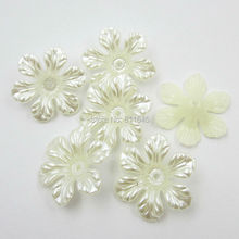 Free shipping new 26mm 12pcs/lot beautiful flower shape craft flatback imitation pearl beads white Ivory(China)