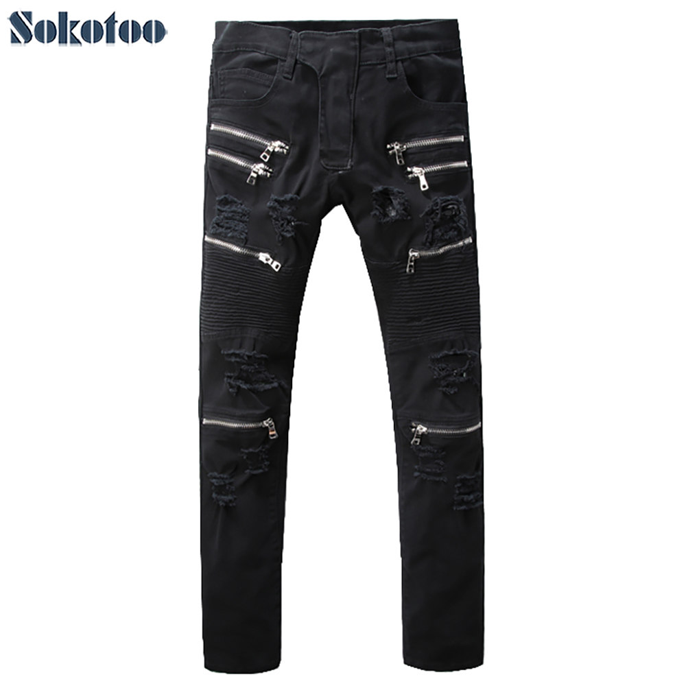 Mens black zipper holes ripped biker jeans Casual slim pleated stretch denim pants for moto Big size long trousersОдежда и ак�е��уары<br><br><br>Aliexpress