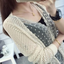 2017 Spring / Summer New Sexy Girls Hollow Out Lace Thin Knit Cardigan Women Chiffon Mesh Patchwork Floral Sweaters Open Stitch