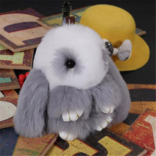 Real Fur Rabbit Keychain Fashion Key Ring Real Rabbit Furs  Keychain pendant Bag Car Charm Tag Cute Double Color Rabbit