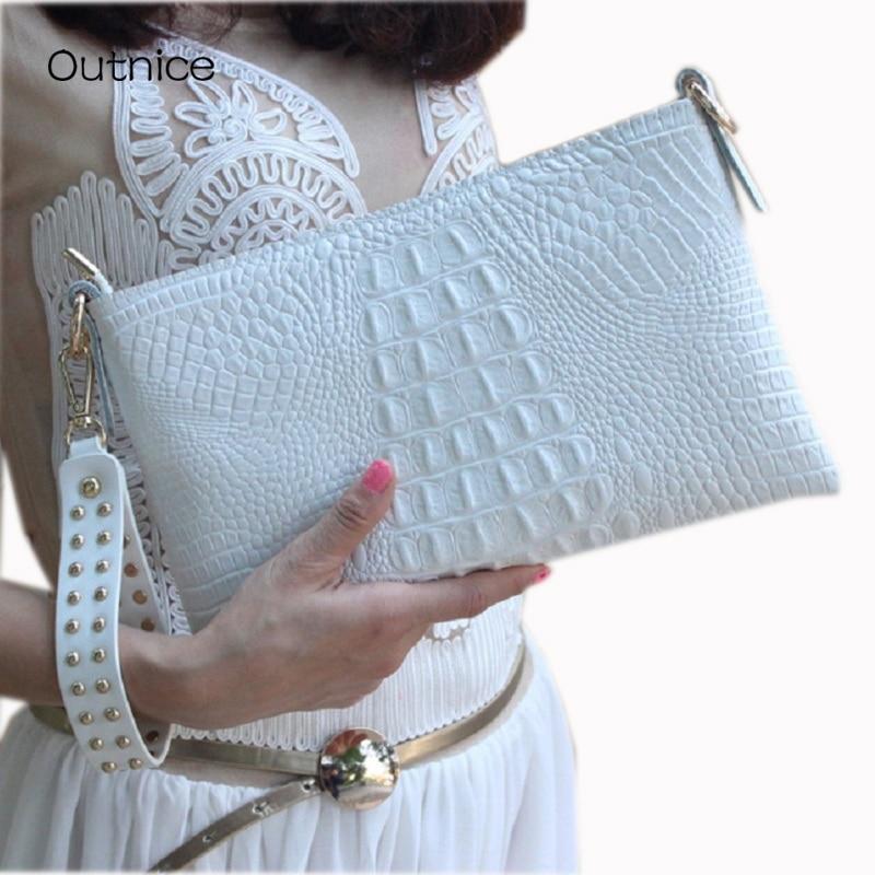 White Envelope Evening Clutch Bag Crocodile Pattern Leather Genuine Messenger Women Bags Crossbody Purses and Handbag Designer<br>