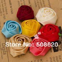 50pcs Mixed Ribbon Rose Fabric Flowers Applique DIY Craft Wedding Decoration Hair Accessories