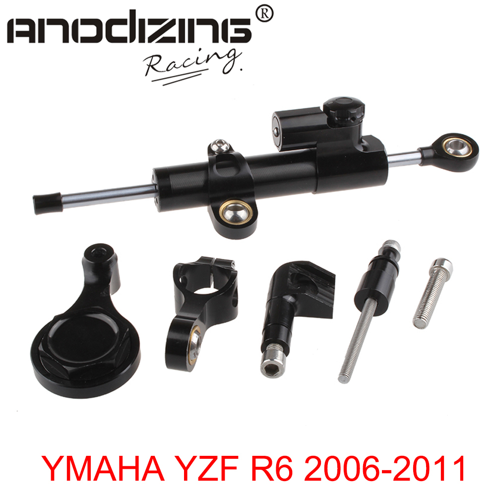 CNC Steering Damper complete Set for YAMAHA YZF R1 2006-2015  w/ bracket kit<br>