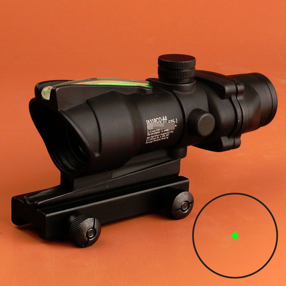 Hunting Scope ACOG Style 1X32 Tactical Red Dot Sight Real Green Fiber Optic Riflescope with Picatinny Rail for M16 Rifle Airsoft<br>