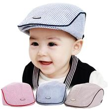 Hot Selling New Trendy Baby Boys Girls Hat 3 Colors Children Cap Cute Baby Infant Boy Girl Stripe Beret Cap Peaked Baseball Hat