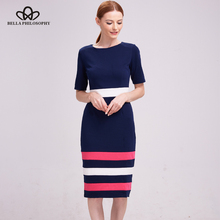 Bella Philosophy 2017 women dress autumn winter short sleeve Blends cotton bodycon pencil dress casual striped dress work(China)