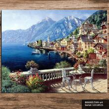 Seascape Mediterranean oil Painting Drawing art Spray Unframed Canvas Frameless square realistic brass iron wall wire 12118521