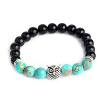 Ethnic Owl Natural Matte Weathering Stone Lava Imperial Stone Beads Chakra Bracelets Wristband Bangles bijoux Women Men Jewelry(China)