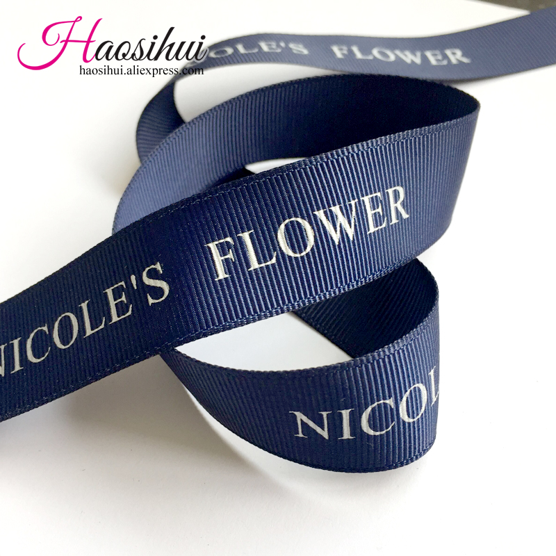 Free design 5/8''(16mm) grosgrain ribbon suppliers printed brand ribbon logo by yourself for wedding favors 100yards/lot(China (Mainland))